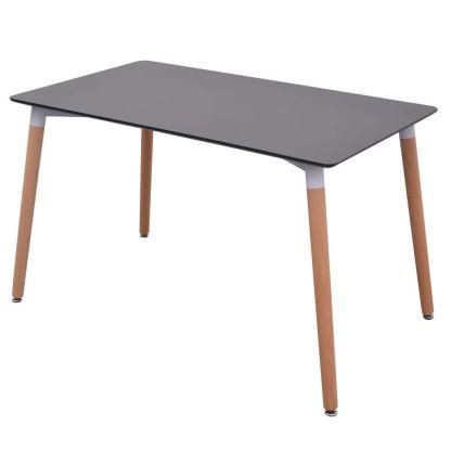7 dalių valgomojo stalo ir kėdžių komplektas, juodas