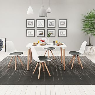 vidaXL 5 dalių valgomojo stalo ir kėdžių komplektas, balta ir juoda