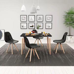 vidaXL 5 dalių valgomojo stalo ir kėdžių komplektas, juoda