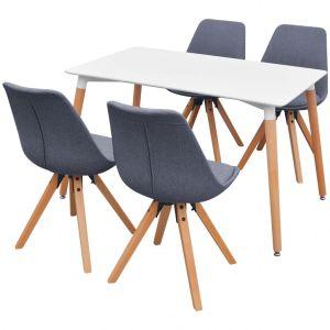 5 d. valgomojo stalo ir kėdžių komplektas, balta ir švies. pilka