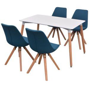5 dalių valgomojo stalo ir kėdžių komplektas, balta ir mėlyna