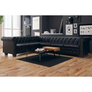 vidaXL Chesterfield kampinė šešiavietė sofa, dirbtinė oda, juoda
