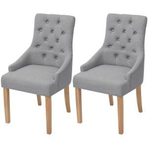 vidaXL Ąžuolinės valgomojo kėdės, 2 vnt., šviesiai pilkas audinys