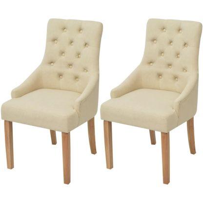 vidaXL Ąžuolinės valgomojo kėdės, 2 vnt., kreminės spalvos audinys