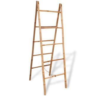vidaXL Dvigubos kopėčios rankš. su 5 laipteliais, bambukas, 50×160 cm