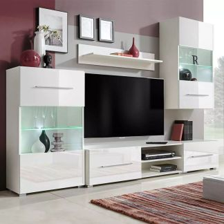 vidaXL Sieninė televizoriaus spintelė su LED apšvietimu, 5d., balta