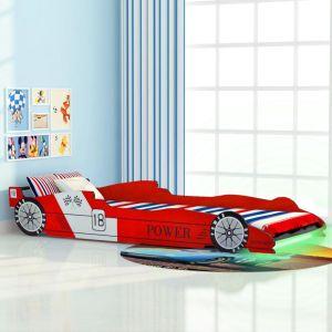 vidaXL Vaikiška LED lova lenktyninė mašina, 90×200 cm, raudona