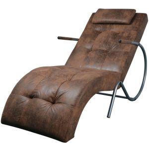 vidaXL Kušetė su pagalvėle, rudos zomšos imitacijos audinys
