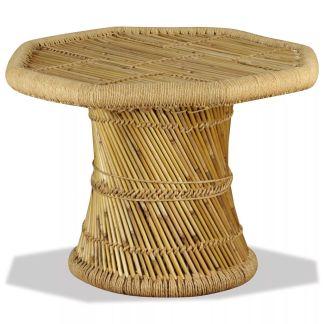 vidaXL Bambukinis kavos staliukas, aštuonkampis, 60x60x45 cm