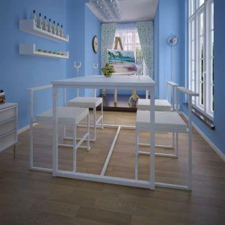 vidaXL 5 dalių valgomojo stalo ir kėdžių komplektas, baltas