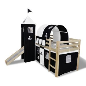 Vaik. lova-fortas su čiuožykla ir kopėč., med., juoda ir balta