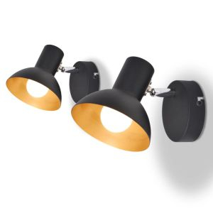vidaXL Lubiniai šviestuvai su 2 E27 lemp., 2vnt., juoda ir auksinė