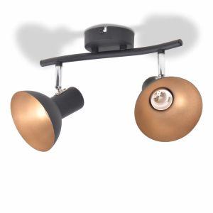 Lubinis šviestuvas su 2 E27 lemputėmis, juodas ir auksinis