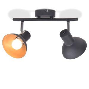 vidaXL Lubinis šviestuvas su 2 E27 lemputėmis, juodas ir auksinis