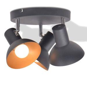 vidaXL Lubinis šviestuvas su 3 E27 lemputėmis, juodas ir auksinis