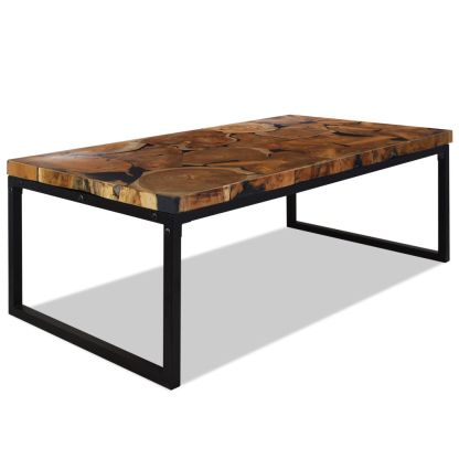 vidaXL Kavos staliukas, tikmedis ir derva, 110x60x40cm