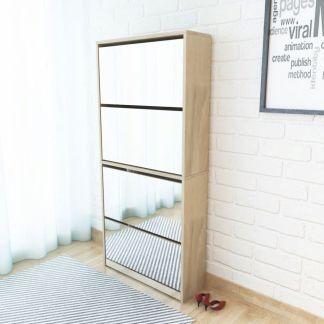 vidaXL Batų dėžė, 4 lygių su veidrodžiais, ąžuolas, 63x17x134cm