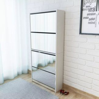 vidaXL Batų dėžė, 4 lygių su veidrodžiais, balta, 63x17x134cm