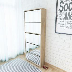 vidaXL Batų dėžė, 5 lygių su veidrodžiais, ąžuolas, 63x17x169,5cm