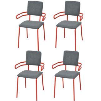 vidaXL Valgomojo kėdės/krėslai, 4 vnt., raudona/pilka