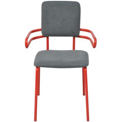 Valgomojo kėdės/krėslai, 6 vnt., raudona/pilka