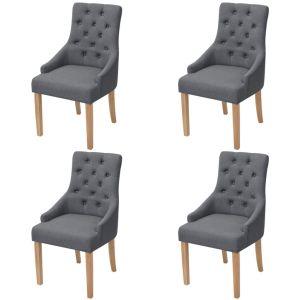 vidaXL Ąžuolinės valgomojo kėdės, 4 vnt., tamsiai pilkas audinys