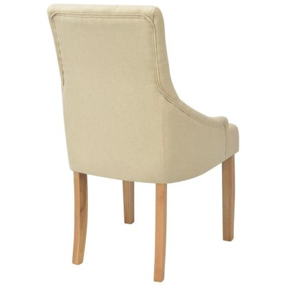 Ąžuolinės valgomojo kėdės, 6 vnt., kreminės spalvos audinys