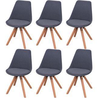 vidaXL Valgomojo kėdės, 6 vnt., tamsiai pilkas audinys
