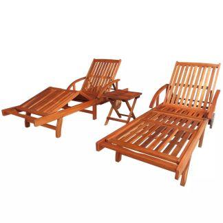 vidaXL Saulės gultai, 2 vnt., su staliuku, akacijos mediena