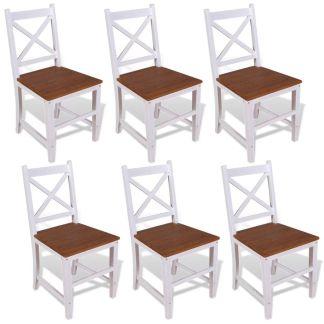 vidaXL Valgomojo kėdės, 6vnt., masyvus tikmedis, raudonmedis