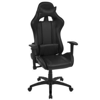 vidaXL Atlošiama biuro/žaidimų kėdė, dirbtinė oda, juoda