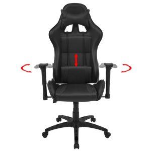 Atlošiama biuro/žaidimų kėdė, dirbtinė oda, juoda