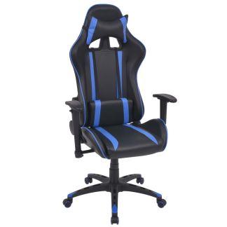 vidaXL Atlošiama biuro/žaidimų kėdė, dirbtinė oda, mėlyna