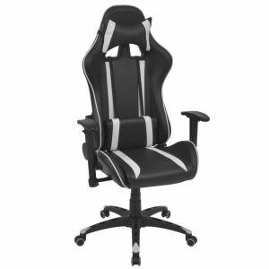 vidaXL Atlošiama biuro/žaidimų kėdė, dirbtinė oda, balta