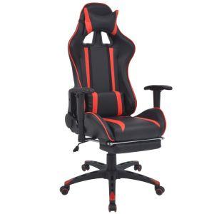 vidaXL Atlošiama biuro/žaidimų kėdė su atrama kojoms, raudona
