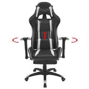 Atlošiama biuro/žaidimų kėdė su atrama kojoms, baltos spalvos