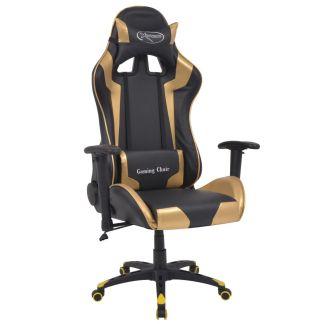 vidaXL Atlošiama biuro/žaidimų kėdė, dirbtinė oda, aukso spalvos