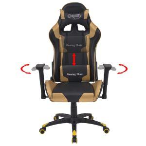 Atlošiama biuro/žaidimų kėdė, dirbtinė oda, aukso spalvos