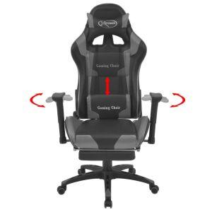 Atlošiama biuro/žaidimų kėdė su atrama kojoms, pilka