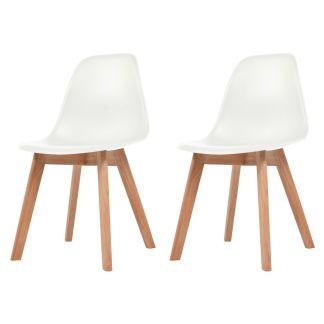 vidaXL Valgomojo kėdės, 2 vnt., baltos sp.