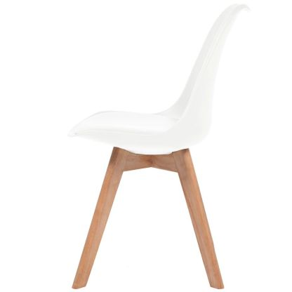Valgomojo kėdės, 4vnt., dirbtinė oda, masyvi mediena, baltos