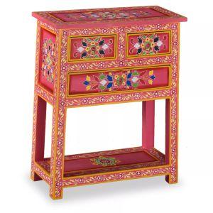 vidaXL Komoda su stalčiais, tvirta mango med., rožinė, dažyta rankomis