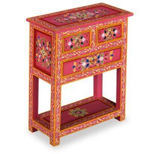 Komoda su stalčiais, tvirta mango med., rožinė, dažyta rankomis