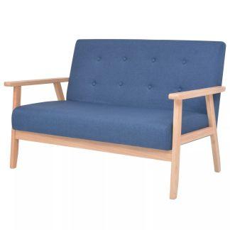 vidaXL Dvivietė sofa, audinys, mėlynas