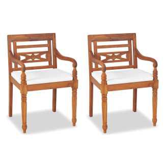 vidaXL Batavia kėdės, 2 vnt., su pagalvėlėmis, tikmedžio mediena