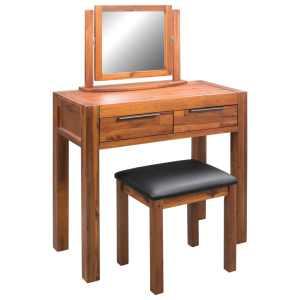 vidaXL Kosmetinis staliukas su kėdute ir veidrodžiu, akacij. med. mas.