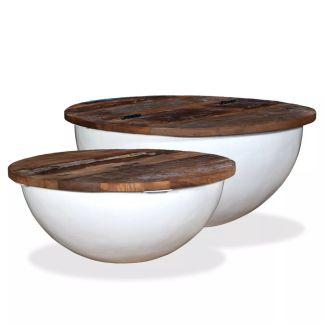 vidaXL Kavos staliukų kompl., 2d., perdirbta med., baltas, apvalus