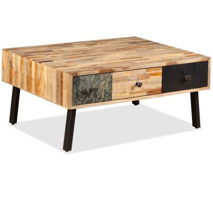 Kavos staliukas, masyvus perdirbtas tikmedis, 90x65x40 cm