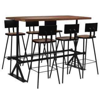 vidaXL Baro baldų komplektas, 7d., masyvi perdirbta mediena
