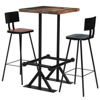 vidaXL Baro baldų komplektas, 3d., perdirbta mediena, įvairiaspalvis
